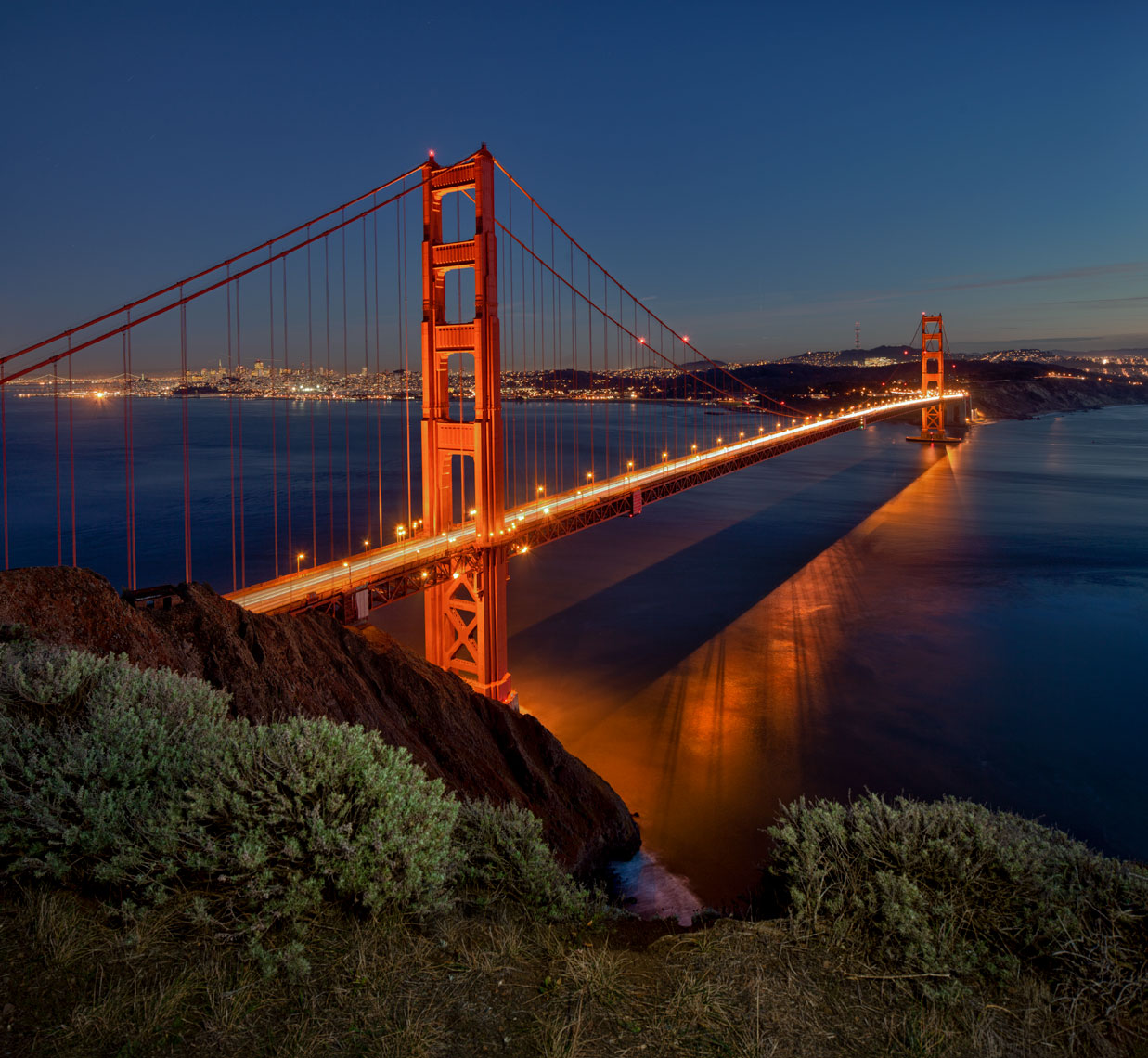 Golden Gate Bridge evening San Francisco,  cities, bridges,  urban, transportation, west coast, California