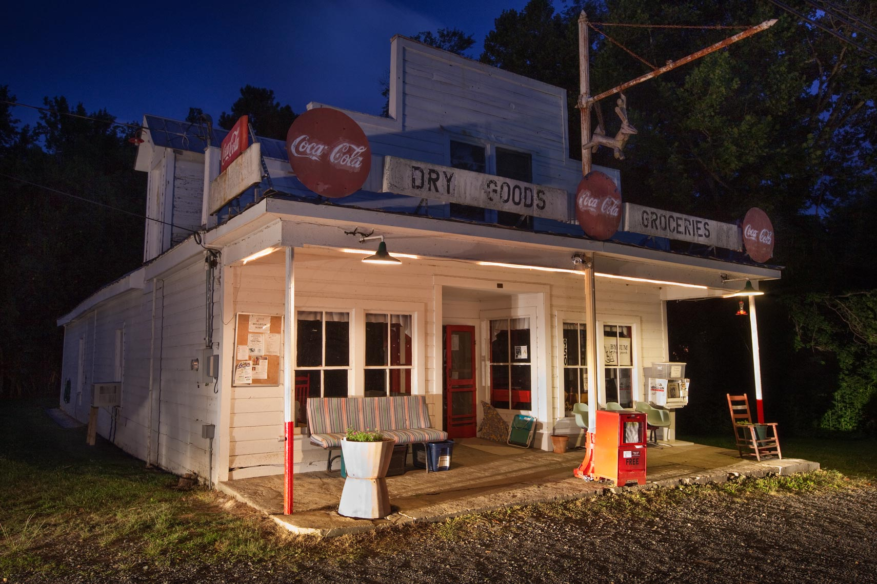 Old country store at night, Mebane, NC