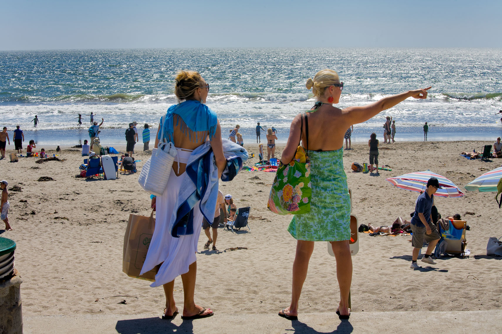 Stinson Beach women, California, summer, ocean