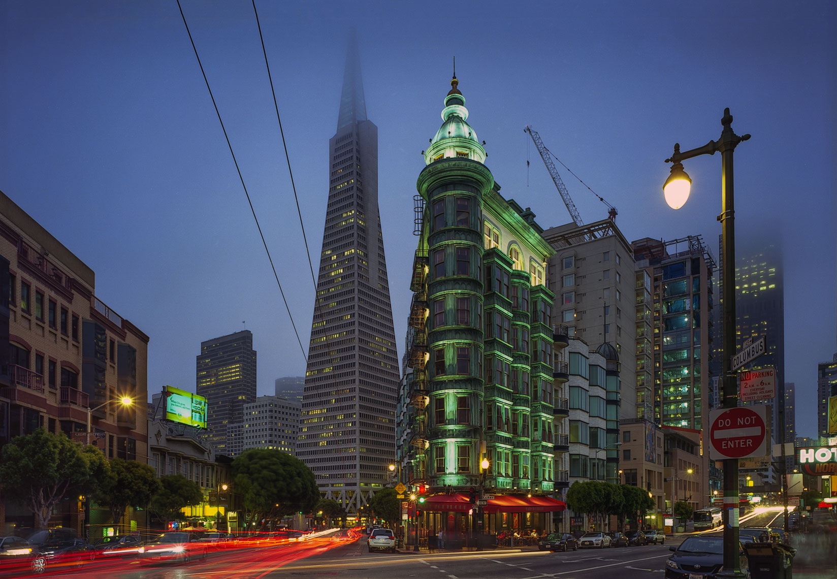 Transamerica and Sentinel Buildings. eveningSan Francisco, California, urban, architecture, night