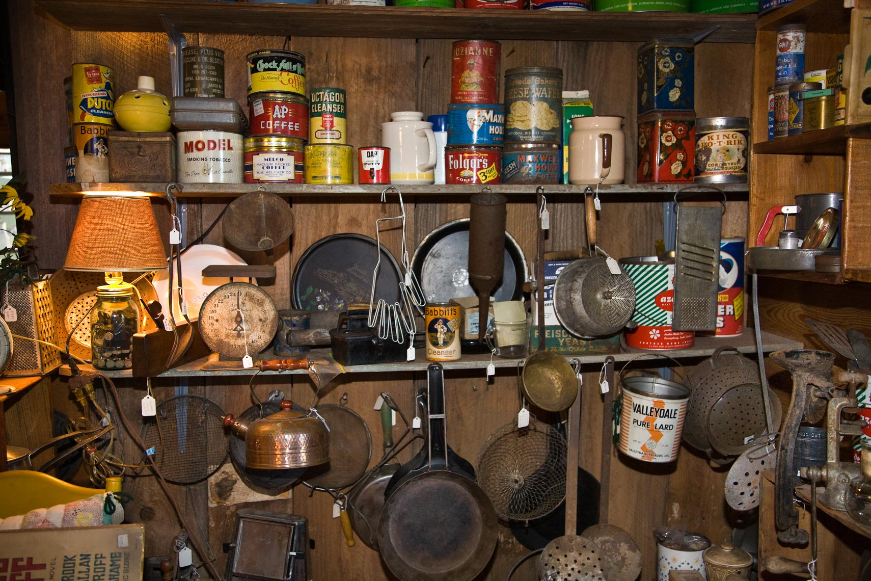 Vintage dry goods display