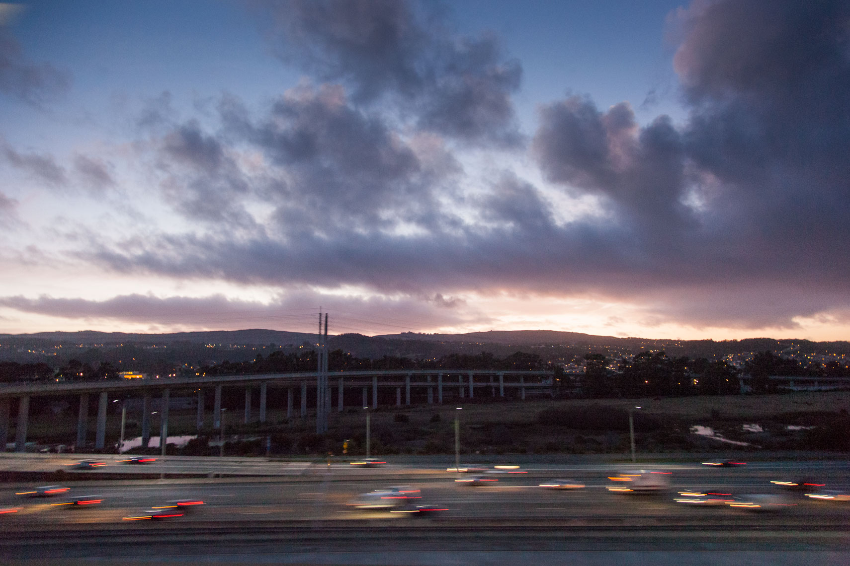 California Highway 101 at sunset, South San Francisco,  urban, transportation