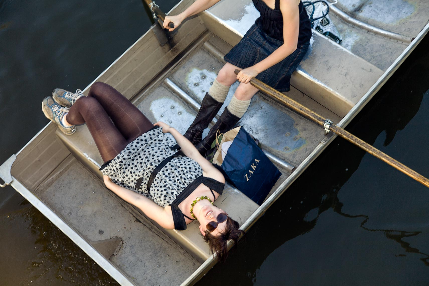 Young women in a row boat
