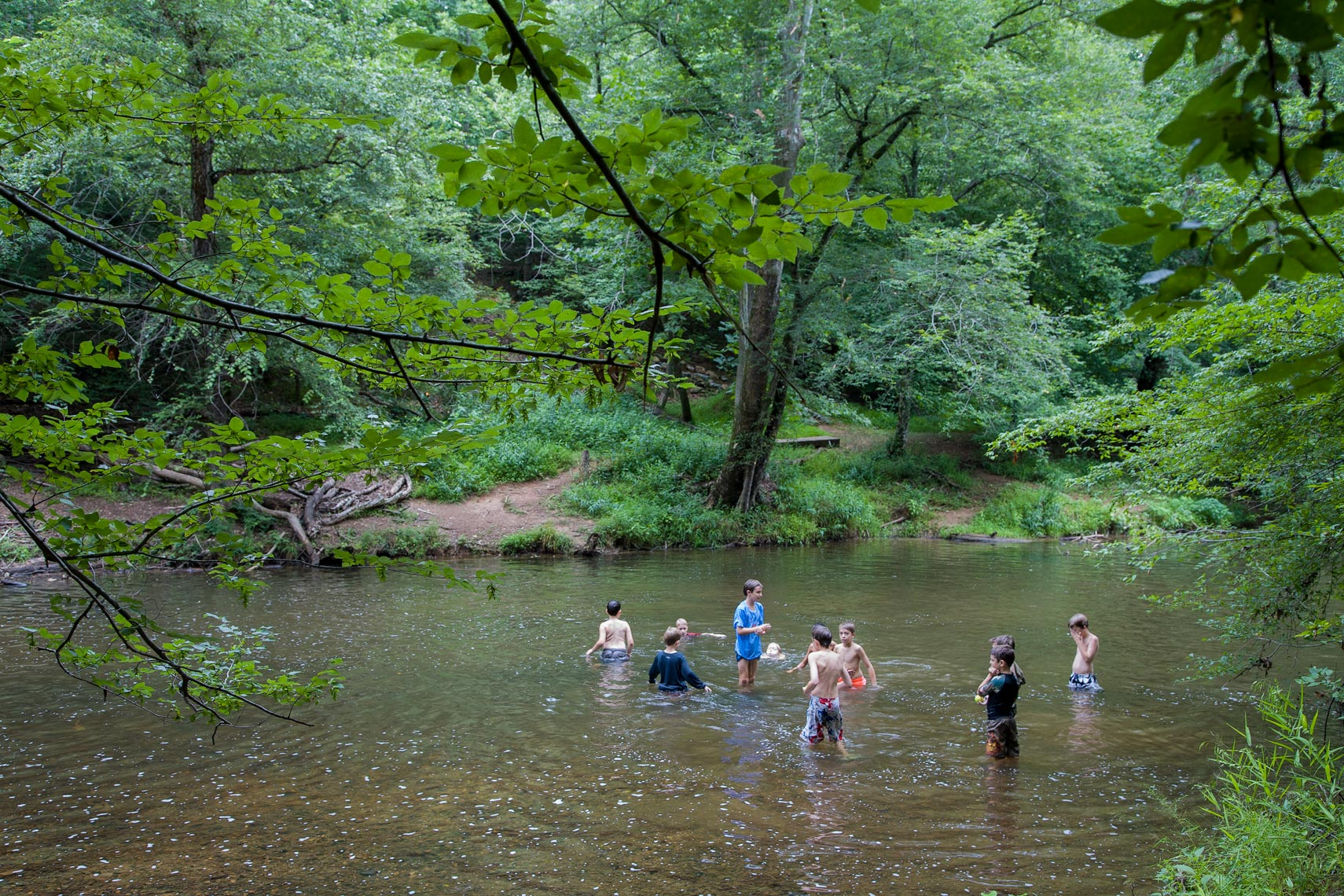 Boys in a summer stream, Chapel Hill, NC